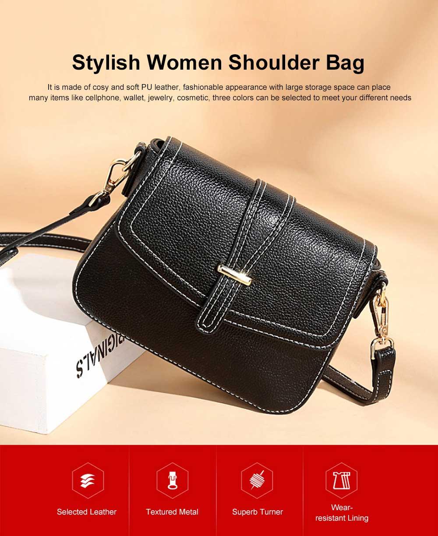 Stylish Women Shoulder Bag Compact PU Messenger Bag with Metal Buckle Spacious Storage Space 0