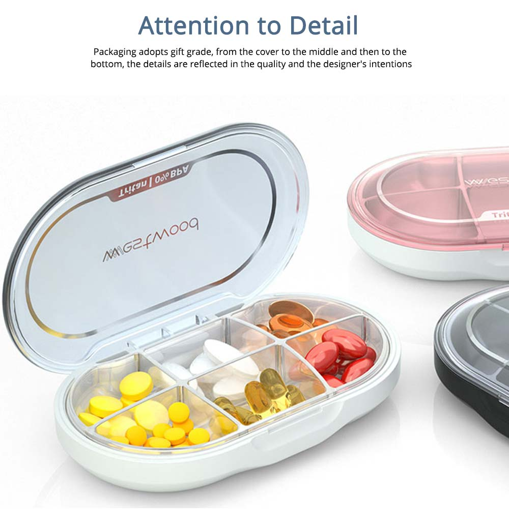6 Compartments Portable Pill Storage Container, BPA Free Waterproof Weekly Tablet Case Holder Drug Medicine Travel Sealed Box 7
