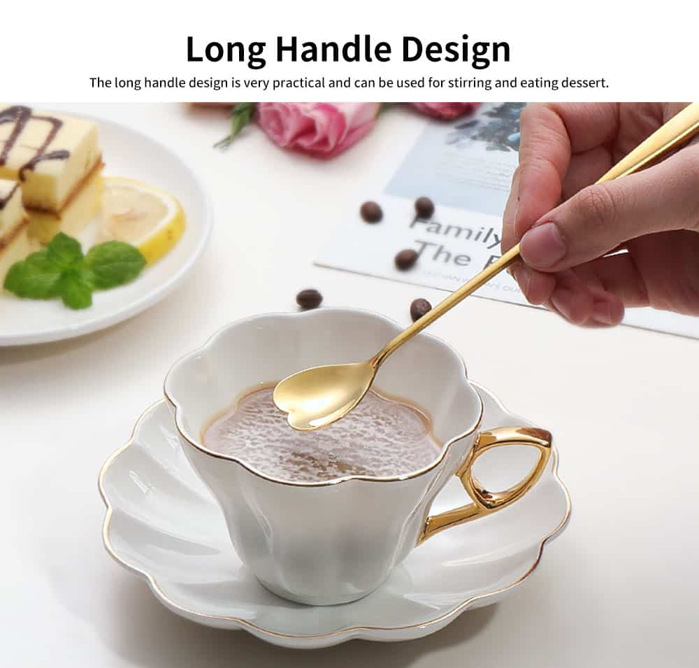 Stainless Steel Long Handle Spoon, Japanese Cherry Blossom Heart Shaped Loving Type Long Handle Coffee Spoon Ice Cream Spoon for Stirring 5