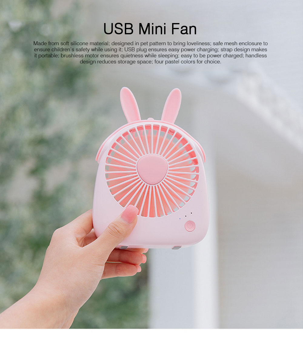 USB Lovely Mini Fan Portable Handheld Power Charged Mini Fans Plug In with Lights Girls Mini Fan 0