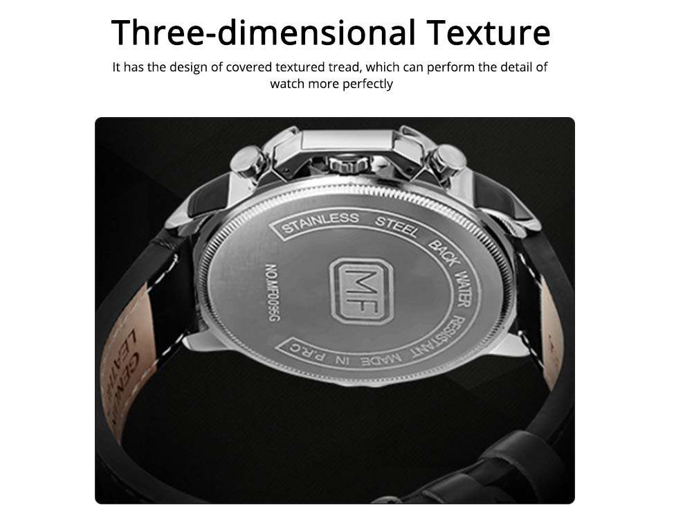 Waterproof Business Luxury Quartz Wrist Watch for Man, Genuine Leather Strap Band, Luminous Calendar Function 3