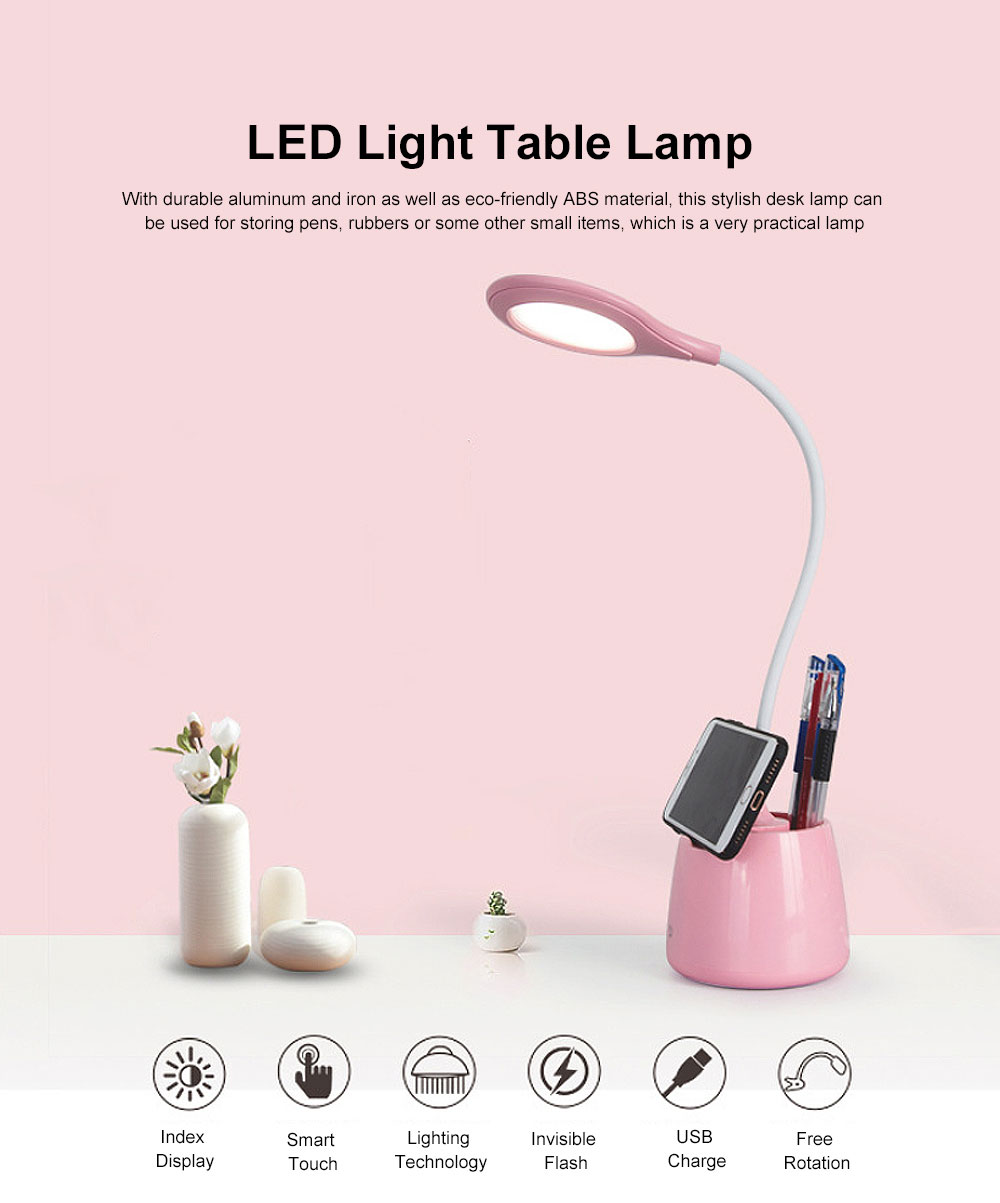 LED Light Table Lamp Minimalist Modern Rechargeable Pen Lamp Eye Protection Lamp with Anti-Slip Mat 0