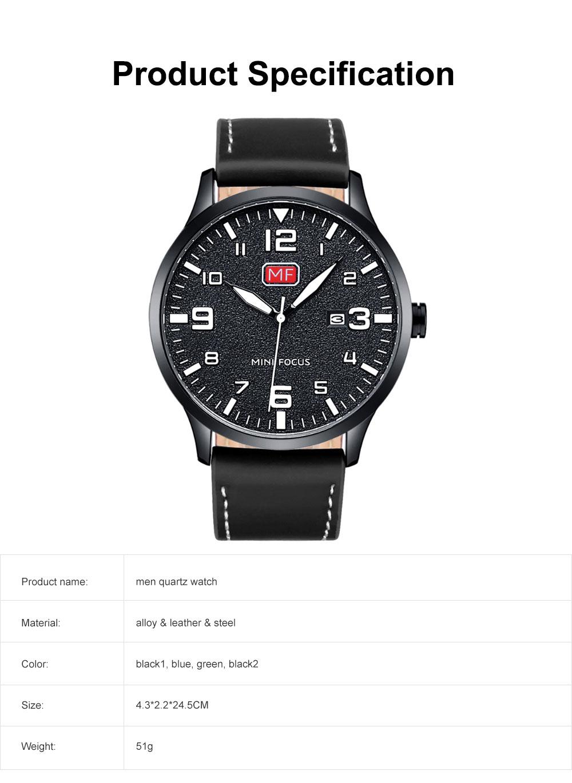 Men Super Thin Large Watch Dial Waterproof Soft Leather Quartz Watch with Calendar Date 6