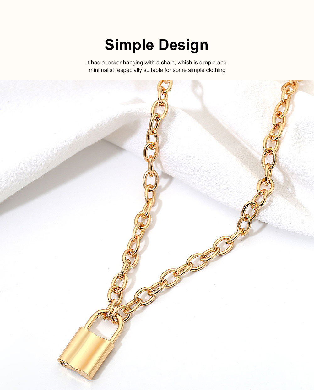 Women Locker Pendant Thick Cable Chain Necklace Sweater Fashion Jewelry Clothing Ornament 4