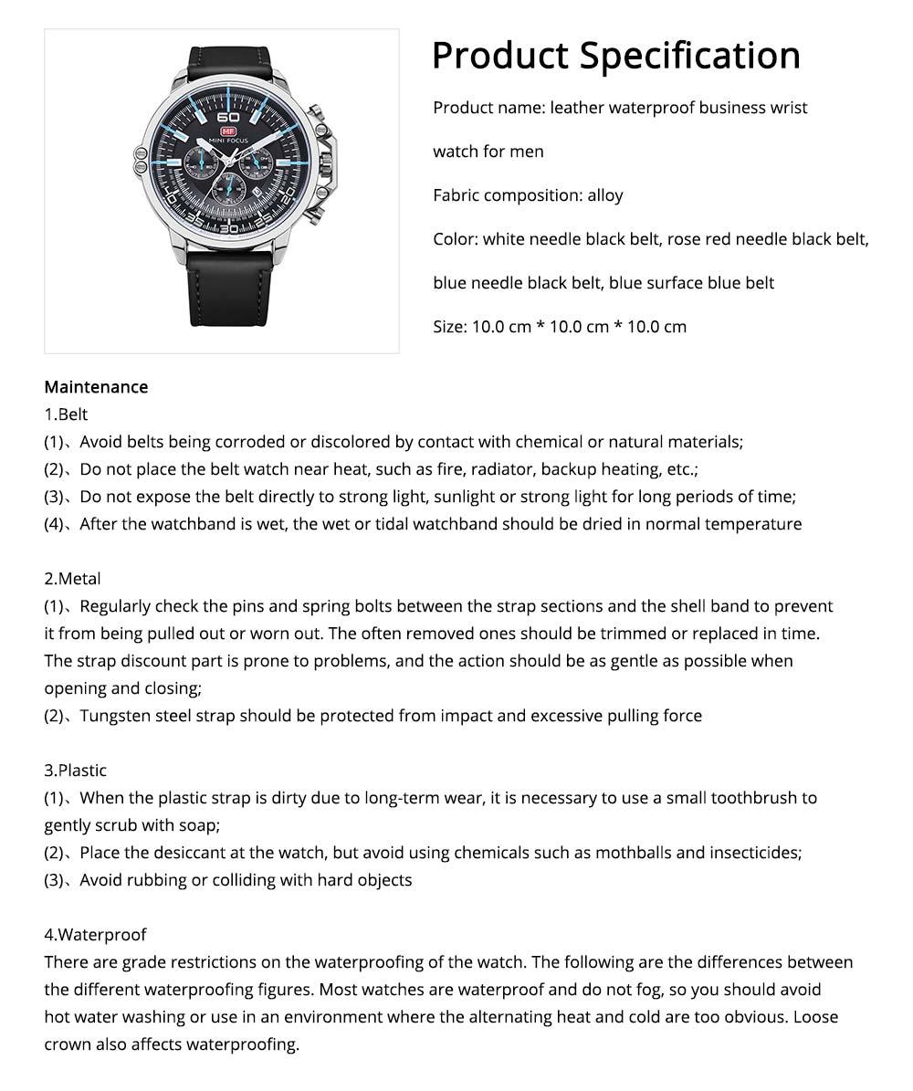 Waterproof Business Luxury Quartz Wrist Watch for Man, Genuine Leather Strap Band, Luminous Calendar Function 6