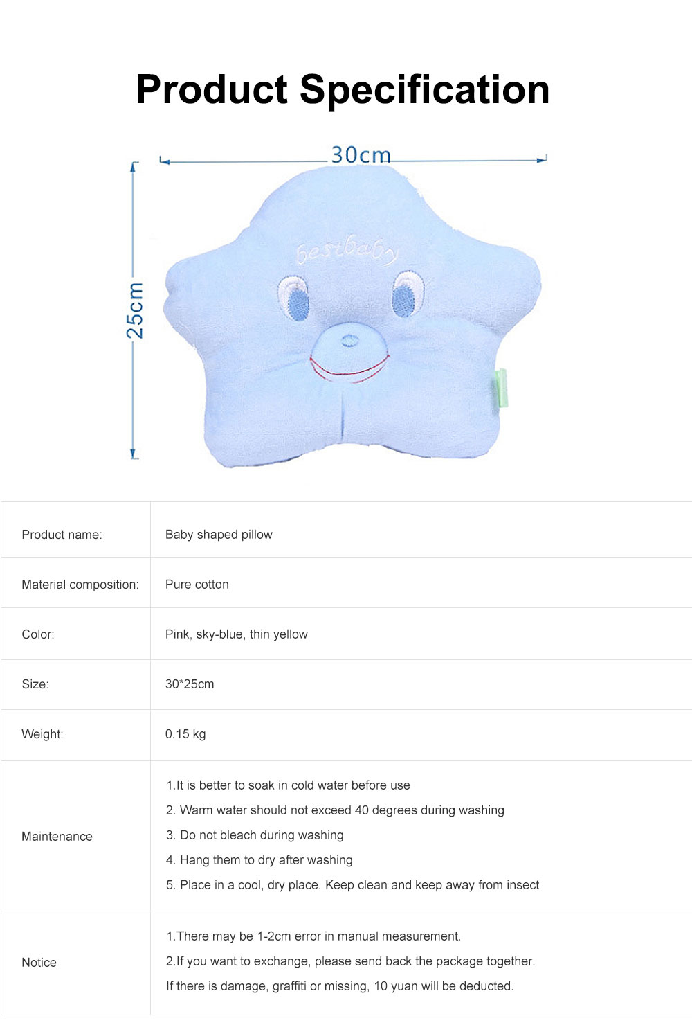 Pure Cotton Sea Star Shaped Pillow, Comfortable Baby Pillow Against Plagiocephaly for Infant Newborn Boys and Girls All Season 6