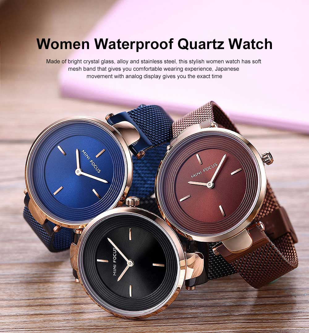 Stylish Women Wrist Watch Waterproof Lady Quartz Watch with Crystal Dial Birthday Gift 0