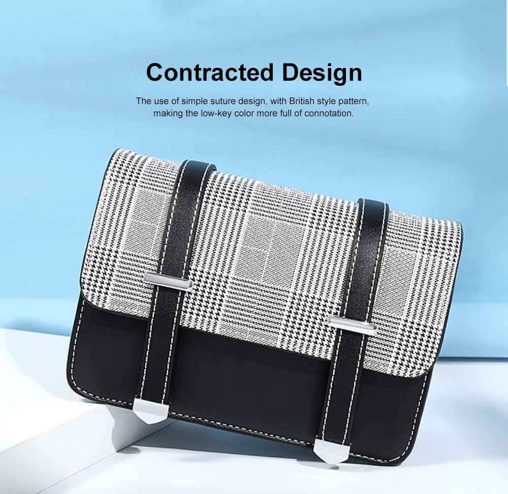 2019 British Style Women Shoulder Bag Crossbody Plaid Sling Dual Used Bag, Euramerican Fashion Contracted Square Bag 1