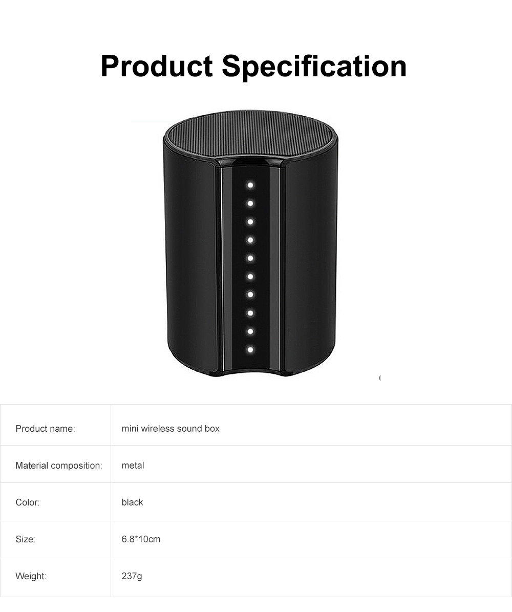 LED Touch Bluetooth 4.2 Speaker Wireless Sound Box, Subwoofer Household Mini Sound Box 6