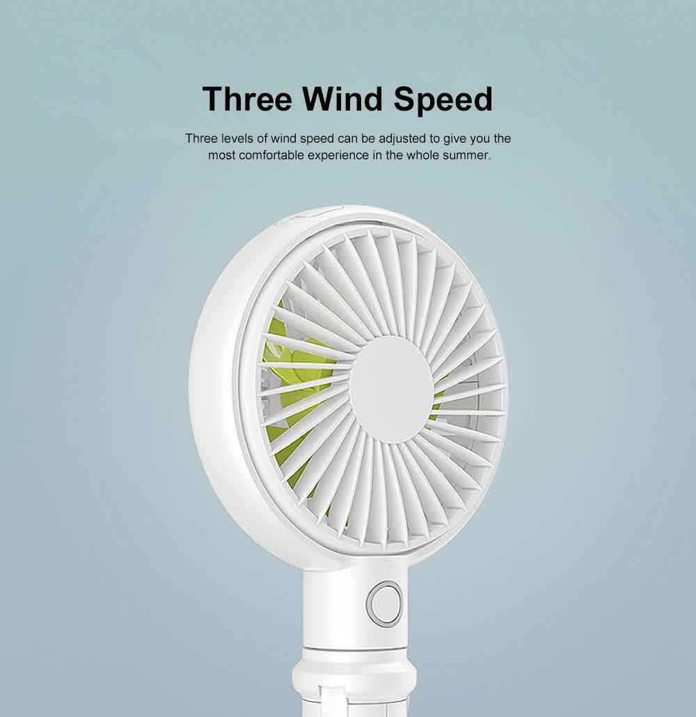 Mini Portable Hand-held Folding Fan, USB Rechargeable Noiseless Fan with Phone Stand for Office & Household 5