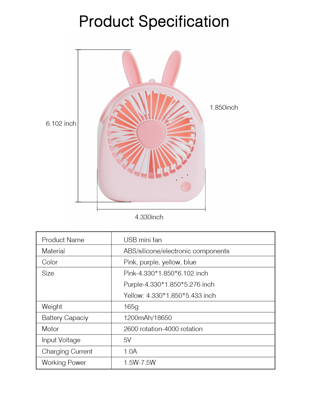 USB Lovely Mini Fan Portable Handheld Power Charged Mini Fans Plug In with Lights Girls Mini Fan 9