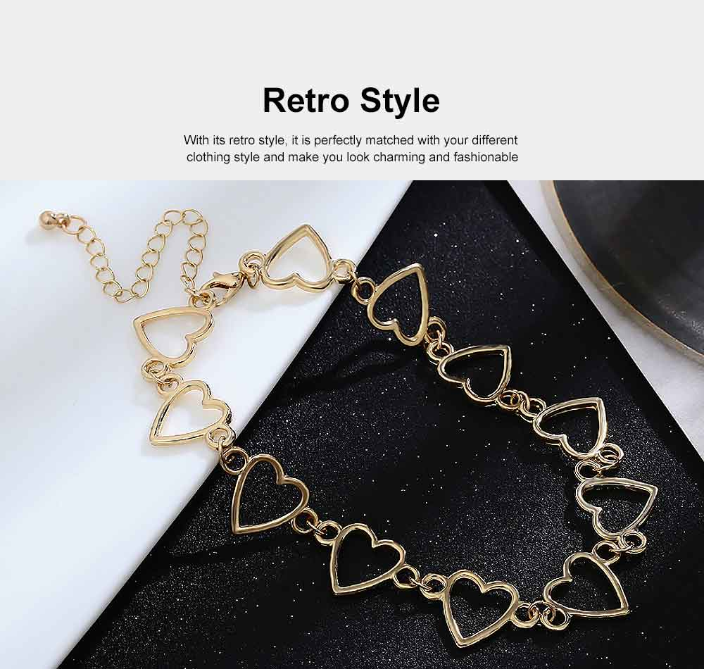 Choker Necklace Girl Women Hollowed Heart Shape Retro Choker Durable Alloy Neck Chain 4