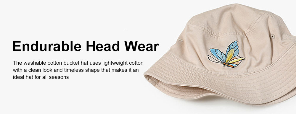 Outdoor Embroider Double Women Bucket Hat Sunscreen Stackable Cotton Hat for Fishing Hiking Climbing 4