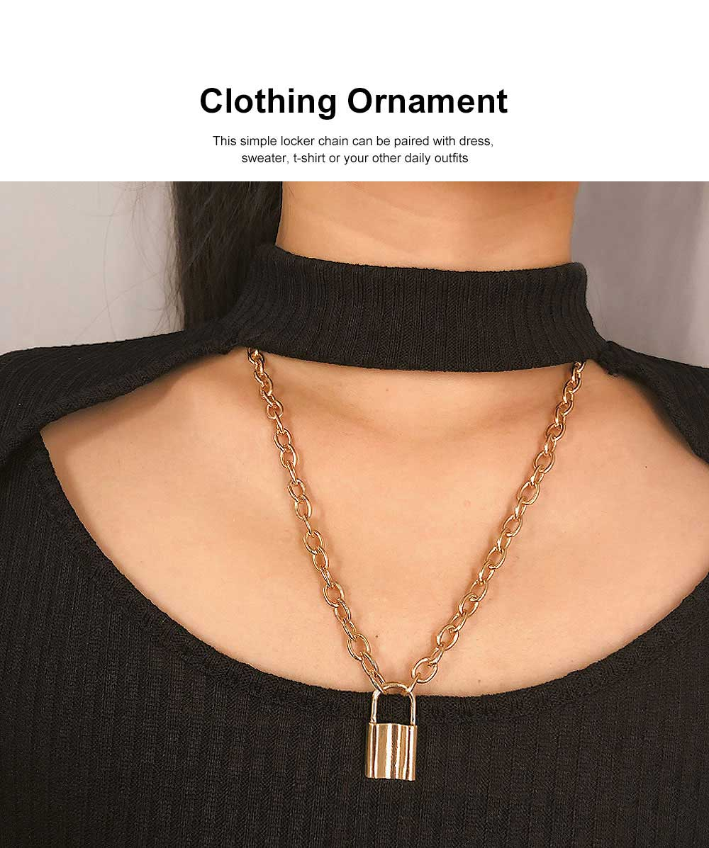 Women Locker Pendant Thick Cable Chain Necklace Sweater Fashion Jewelry Clothing Ornament 1
