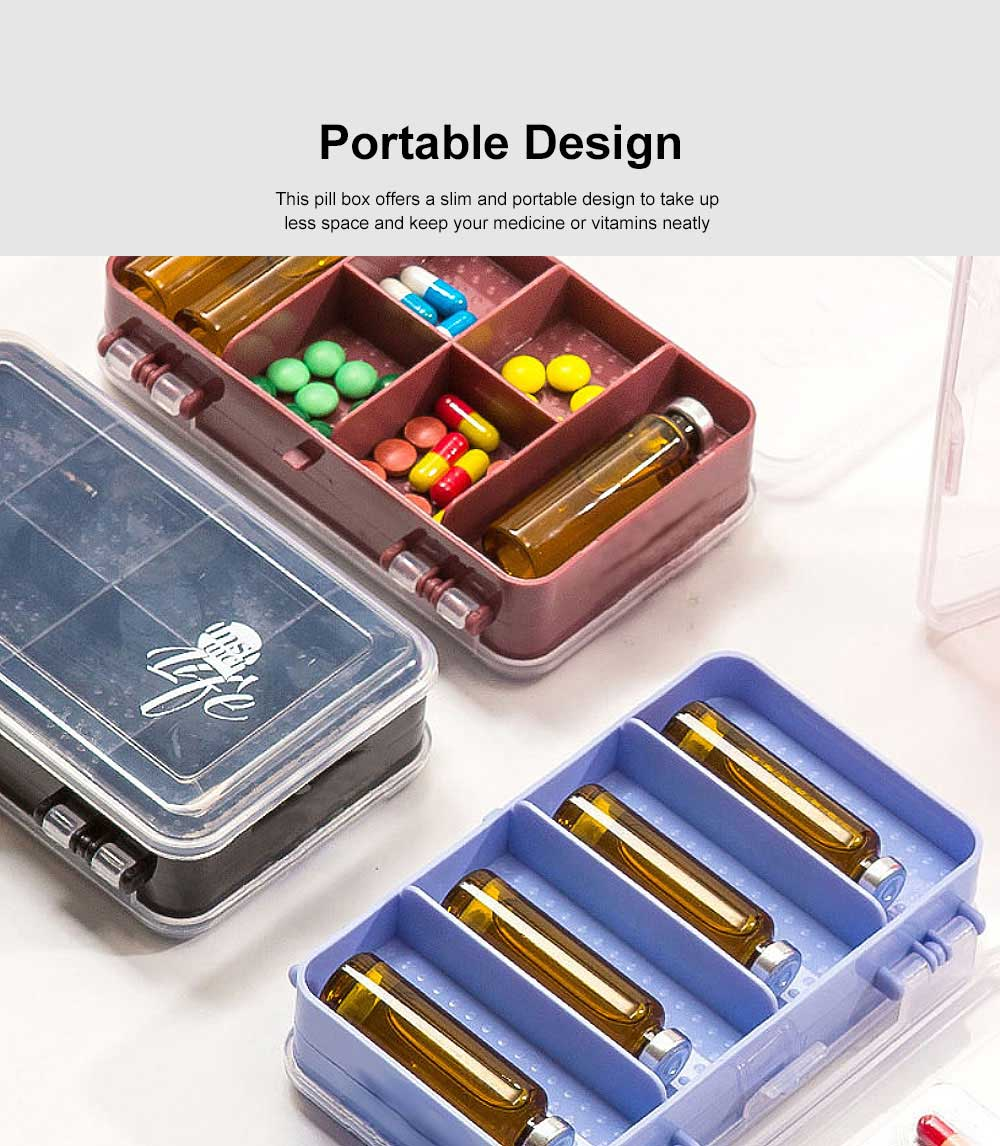 Pill Organizer Case Portable Box Small Container for Bag Travel Business Trip Excellent Weekly Pill Storage Case 4