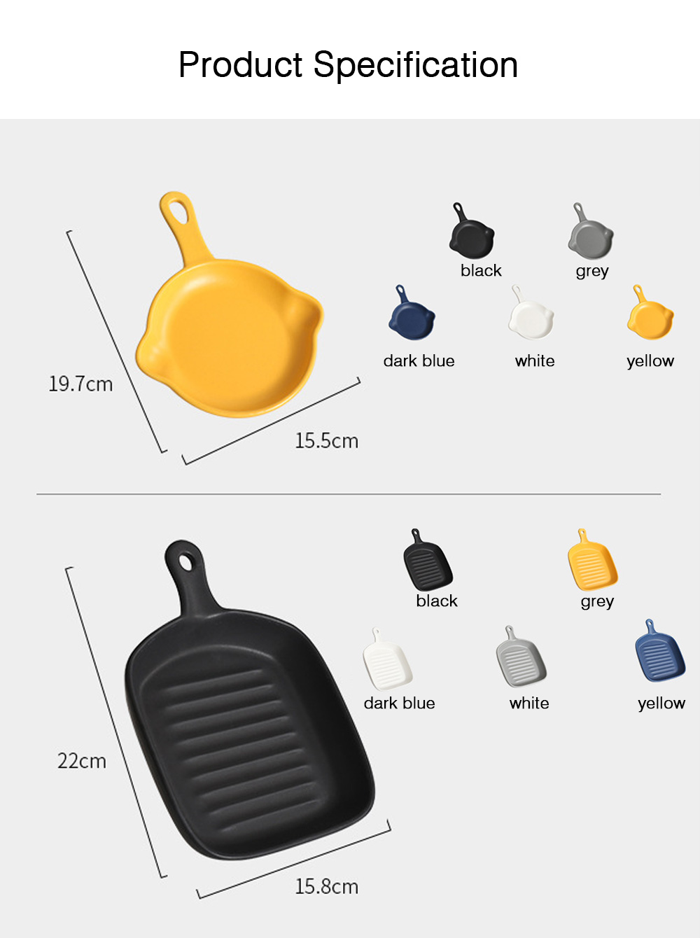 Nordic Style Ceramic Pan with Handle for Baking, Creative Nonstick Pan 8 Inch for Breakfast Ceramic Tableware 6