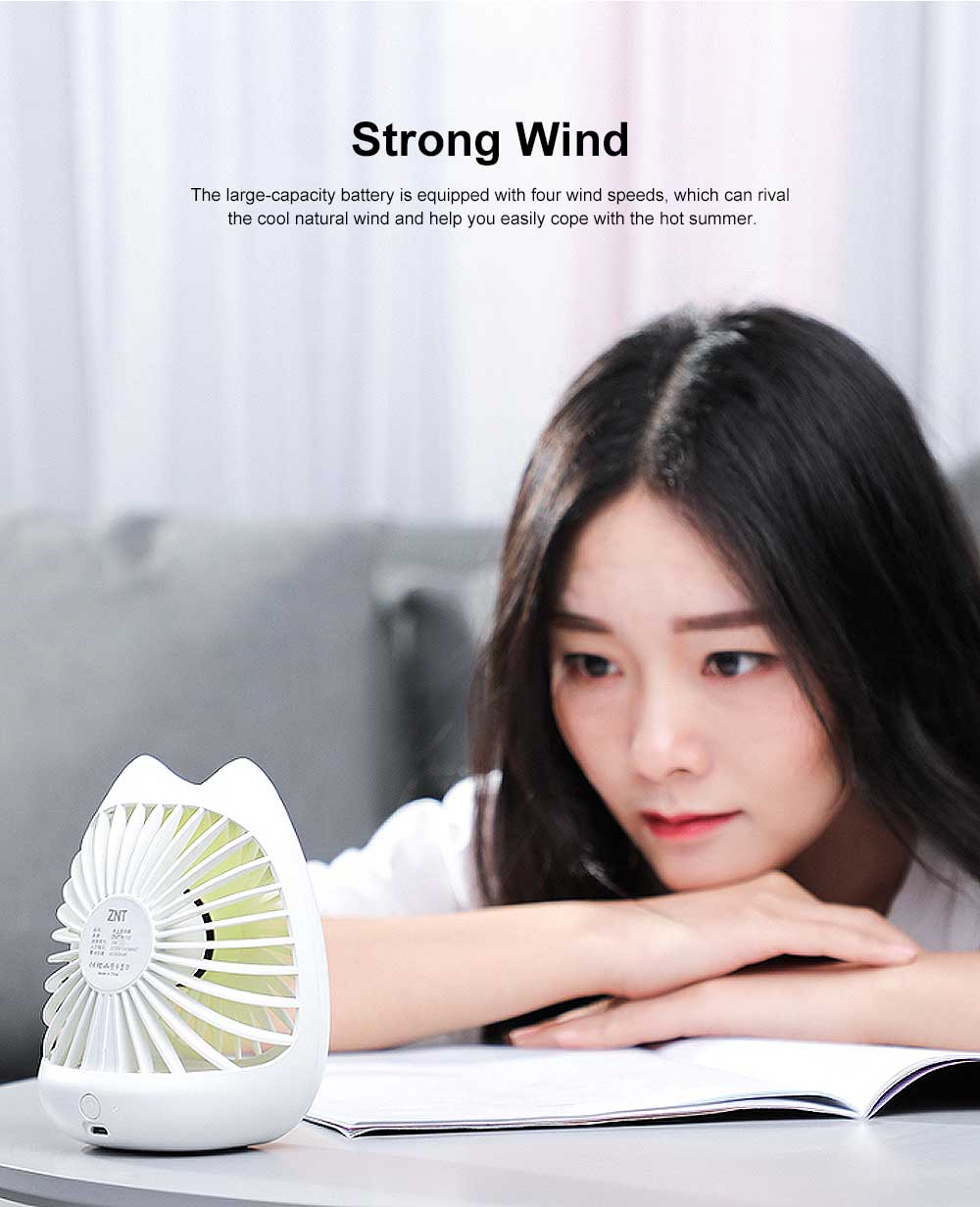 Portable Noiseless Desk Fan with Strong Wind, USB Mini Fan for Office, Dormitory, Household 1
