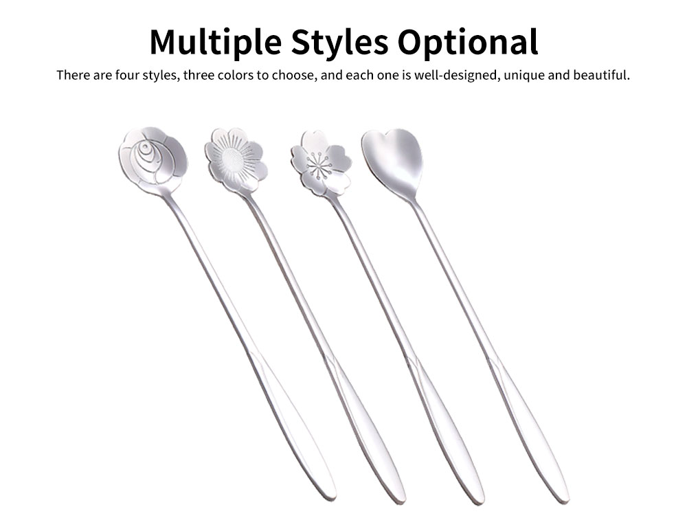 Stainless Steel Long Handle Spoon, Japanese Cherry Blossom Heart Shaped Loving Type Long Handle Coffee Spoon Ice Cream Spoon for Stirring 4