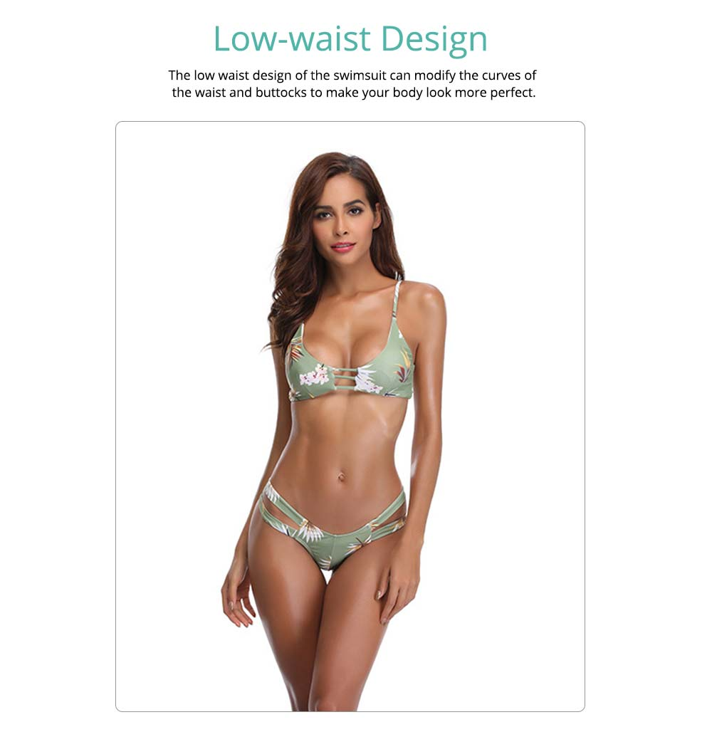 Swimsuit for Women Fashion Printing Western Style Low Waist Fission Bathing Suit Hollow Out Sexy Bikini 2019 4