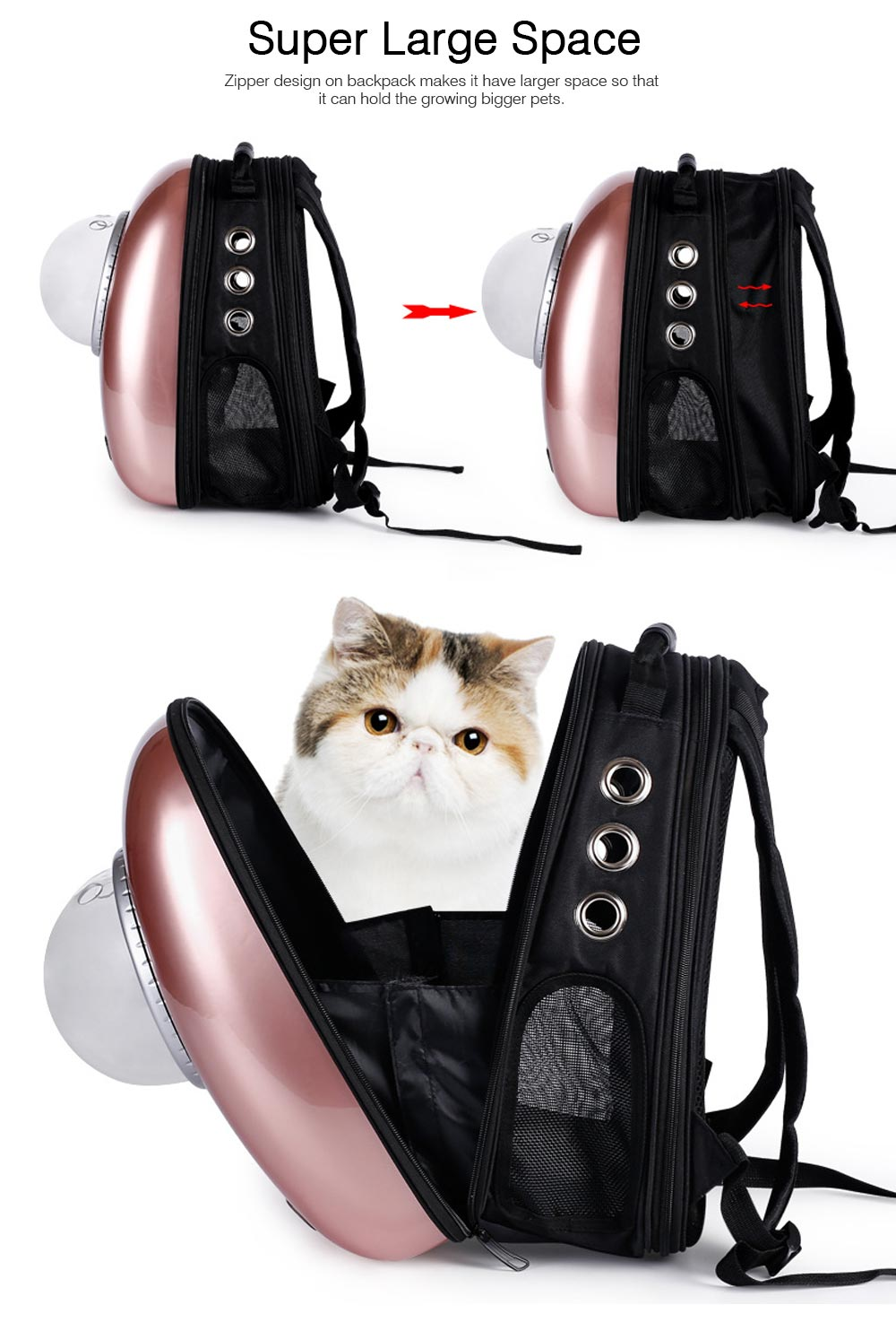 Fashionable Large Pet Backpack for Moderate and Small Size Dog and Cat, Portable Travel Pet Carrier Space Capsule Bubble Design 9