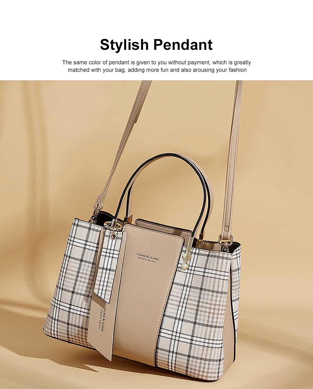 New Women Elegant Handbag Stylish Color Checkered Cloth Joint Spacious Shoulder Bag 2