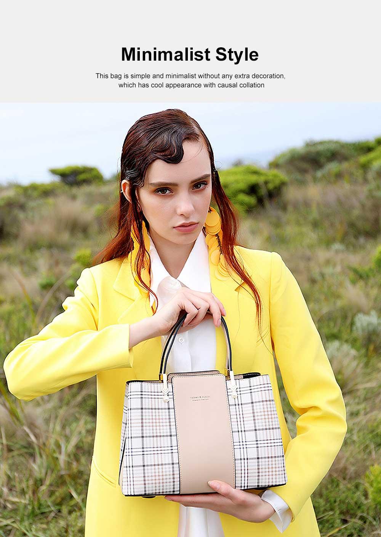 New Women Elegant Handbag Stylish Color Checkered Cloth Joint Spacious Shoulder Bag 3