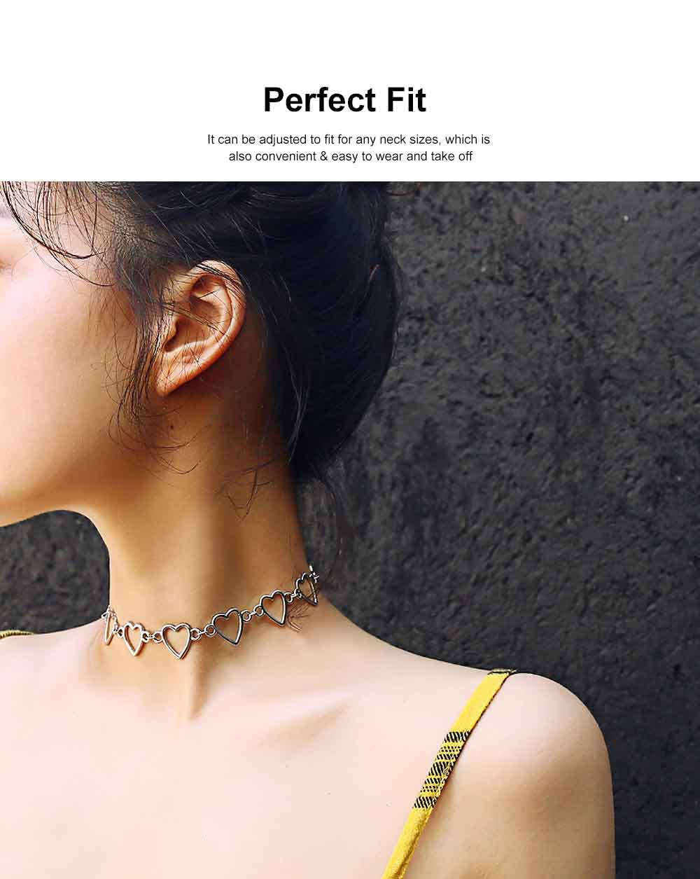 Choker Necklace Girl Women Hollowed Heart Shape Retro Choker Durable Alloy Neck Chain 1