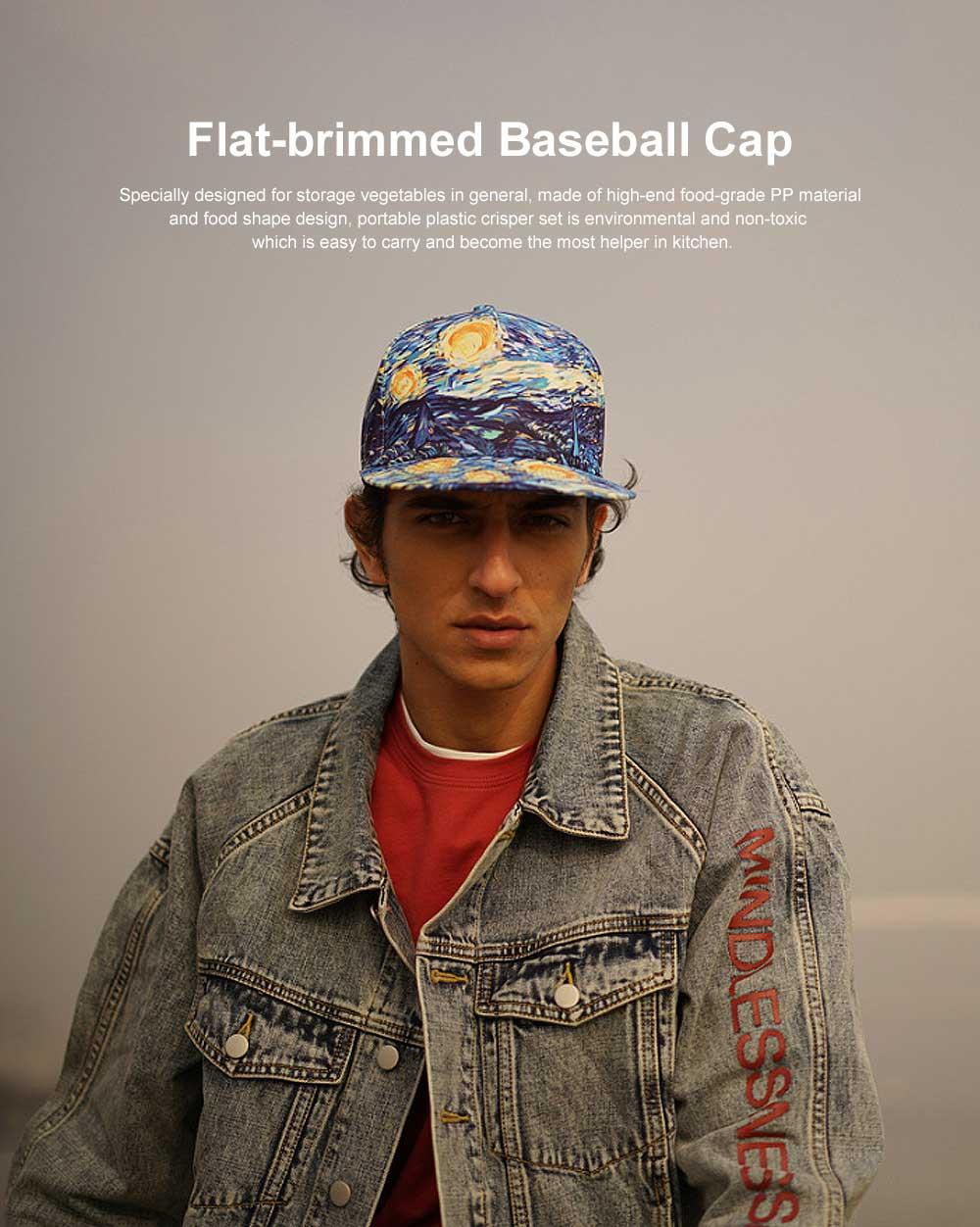 Flat-brimmed Baseball Cap, Street Dance & Hip-pop Cap, 3D-printed Cap for Male & Female 0