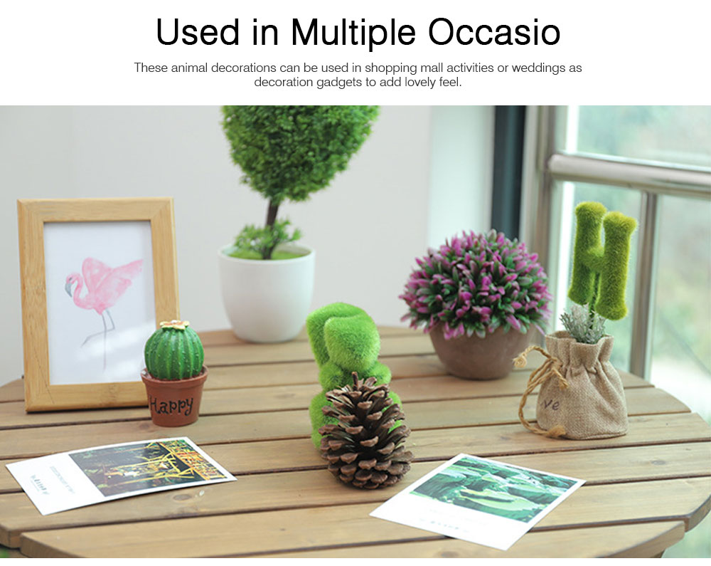 Simulated-grass-made Animal Decorations for Wedding Desktop Creative Animal Decorations for Party Animal Decorations Safari Party Supplies 4