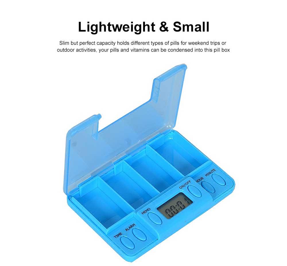 Electronic Pill Dispenser Timer Alarm Pill Box Organizer 4 Compartments Medicine Box 1