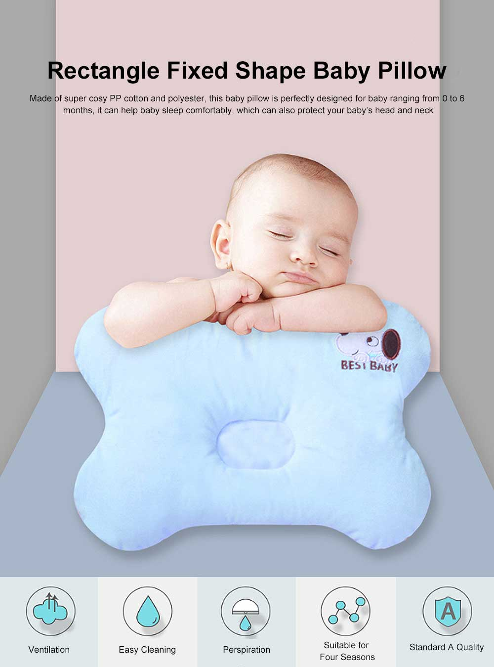 Baby Super Soft Pillow Rectangle Fixed Shape New-Born Baby Pillow Neck Head Protection 0