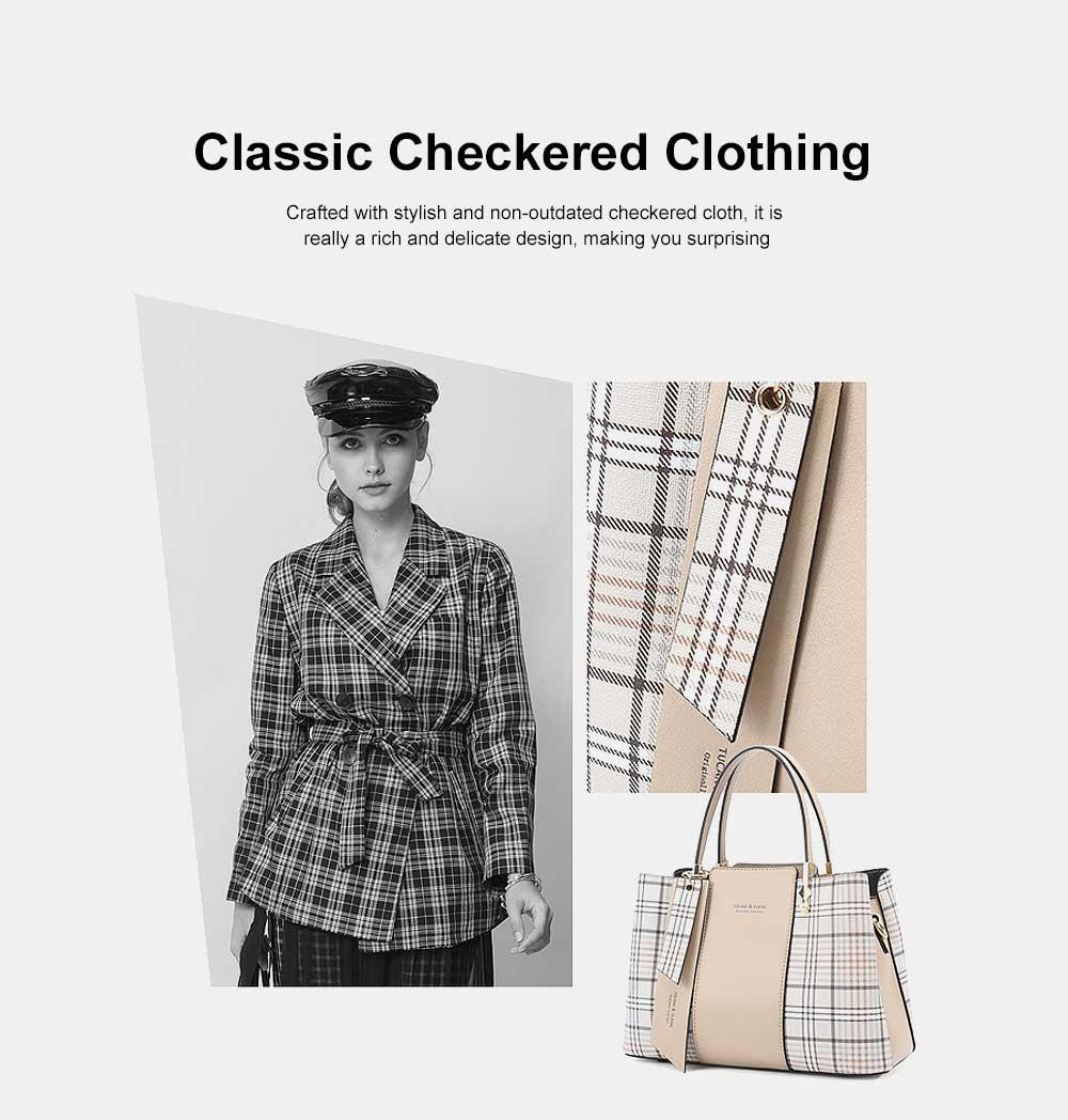 New Women Elegant Handbag Stylish Color Checkered Cloth Joint Spacious Shoulder Bag 1