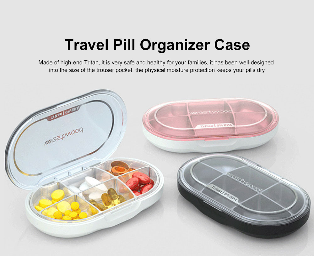 Westwood Premium Travel Pill Organizer Case Dust-Proof 6 Compartments Portable Weekly Pill Box for Medication Vitamin 0