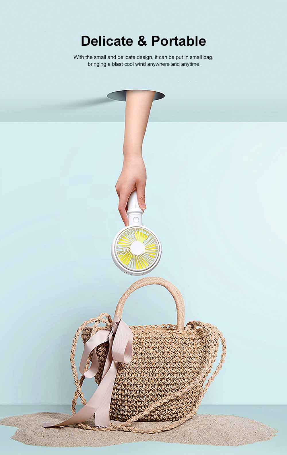 Mini Portable Hand-held Folding Fan, USB Rechargeable Noiseless Fan with Phone Stand for Office & Household 1