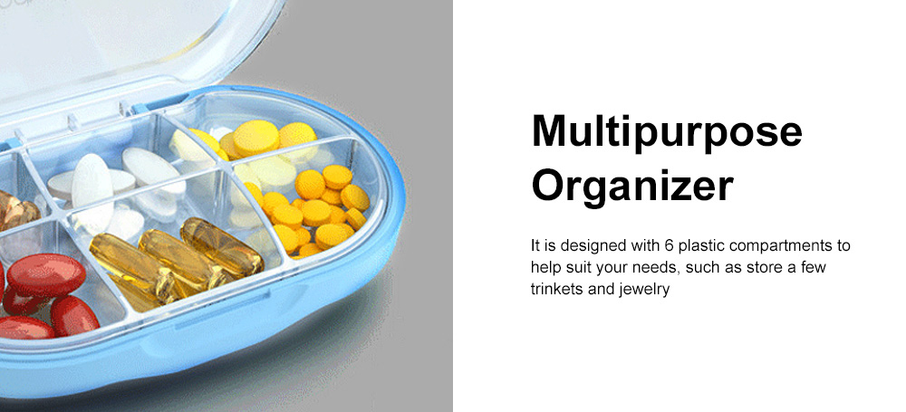 Westwood Premium Travel Pill Organizer Case Dust-Proof 6 Compartments Portable Weekly Pill Box for Medication Vitamin 1