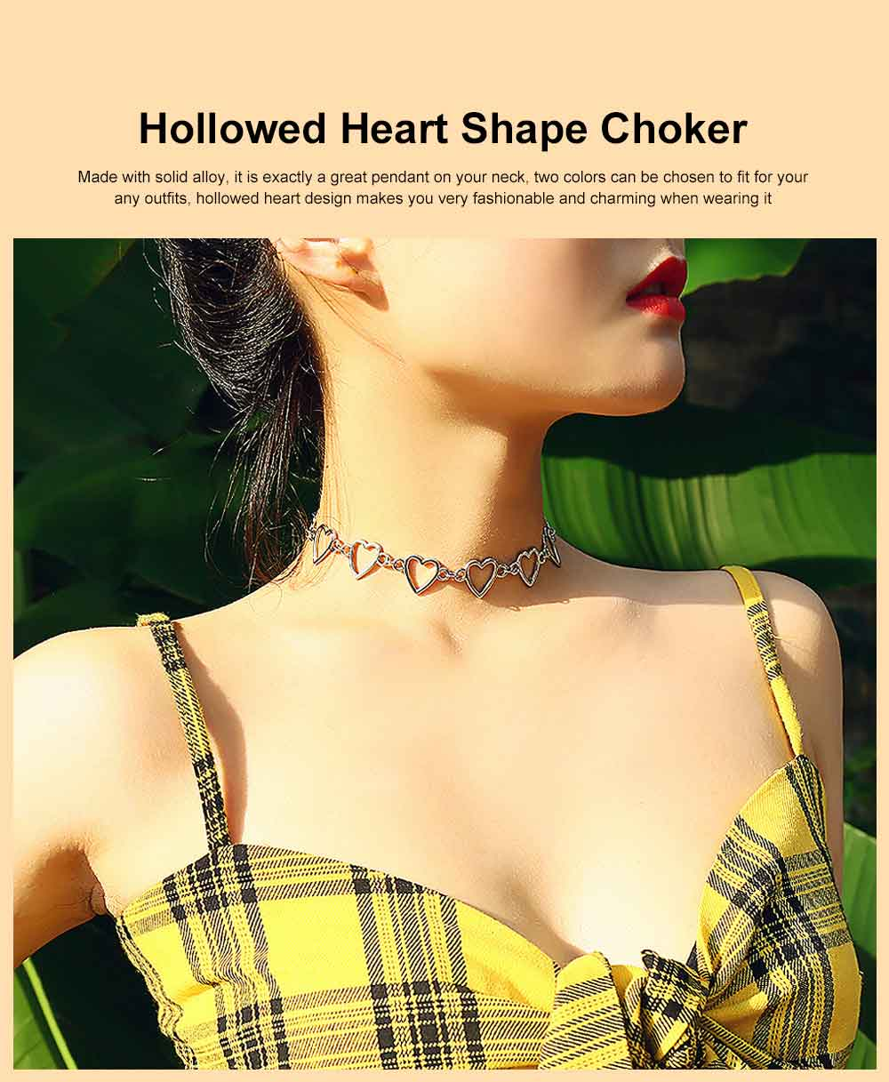 Choker Necklace Girl Women Hollowed Heart Shape Retro Choker Durable Alloy Neck Chain 0