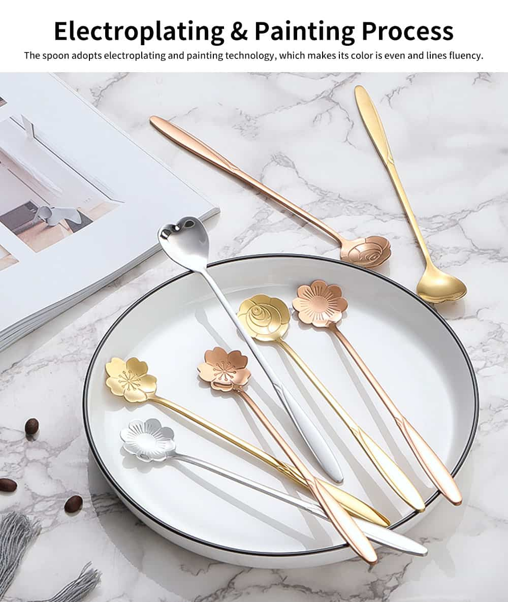 Stainless Steel Long Handle Spoon, Japanese Cherry Blossom Heart Shaped Loving Type Long Handle Coffee Spoon Ice Cream Spoon for Stirring 2