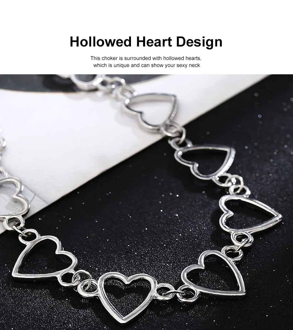 Choker Necklace Girl Women Hollowed Heart Shape Retro Choker Durable Alloy Neck Chain 3