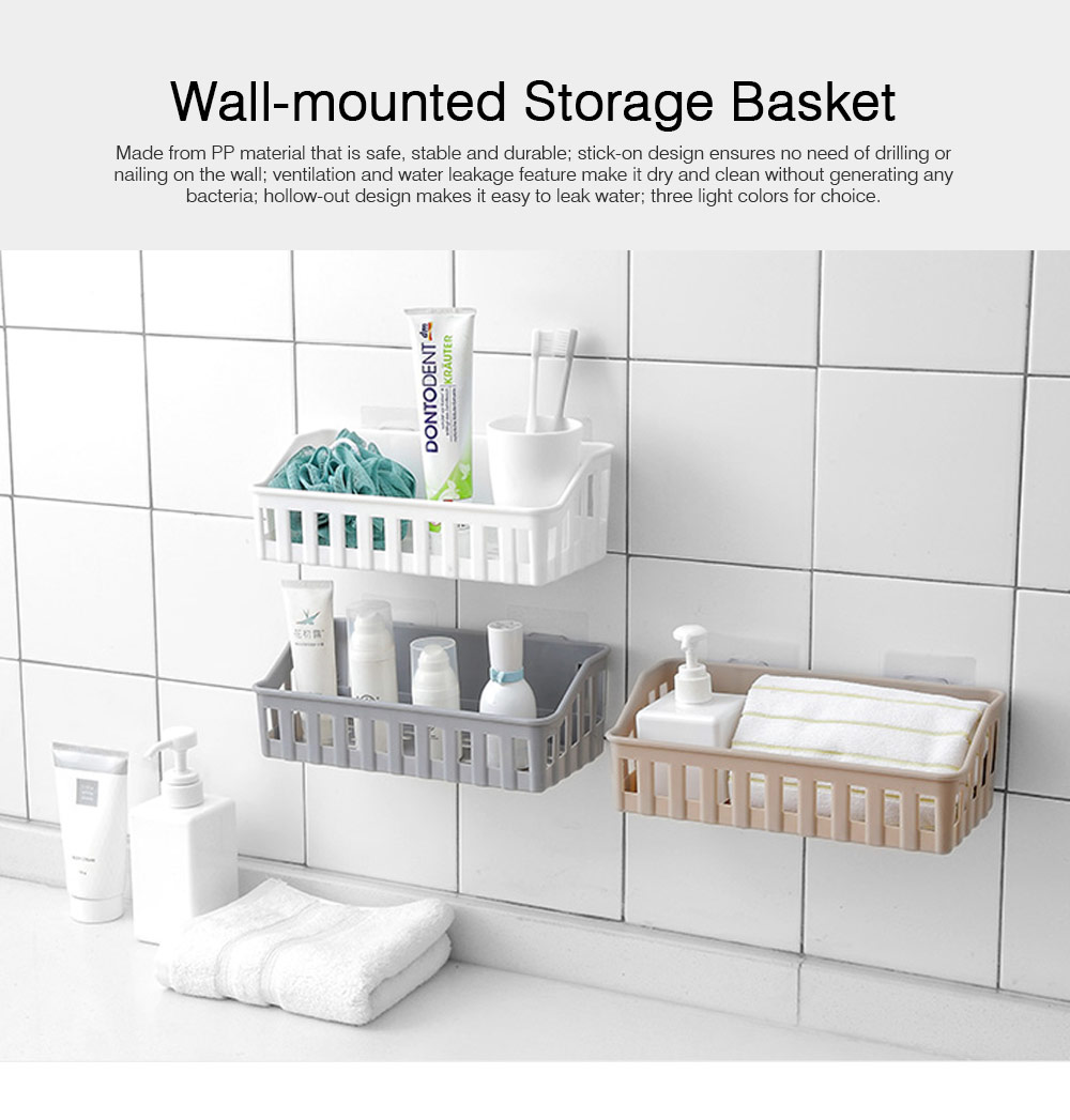 Wall-Mounted Storage Baskets for Kitchen Bathroom No Hole Needed Storage Racks and Shelving Heavy Duty 0