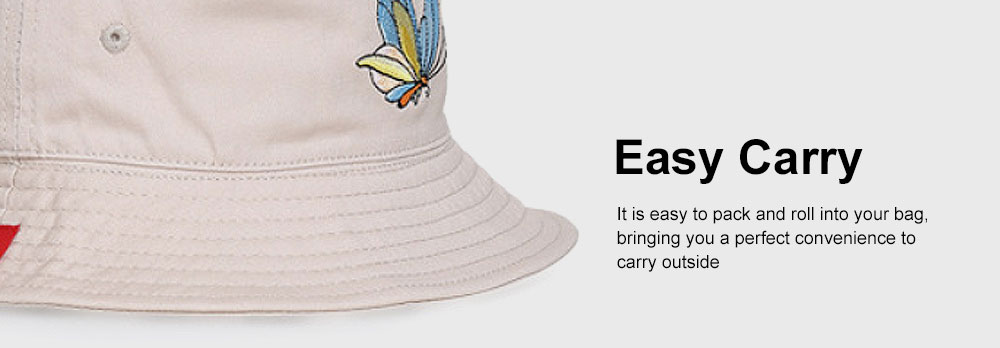 Outdoor Embroider Double Women Bucket Hat Sunscreen Stackable Cotton Hat for Fishing Hiking Climbing 3