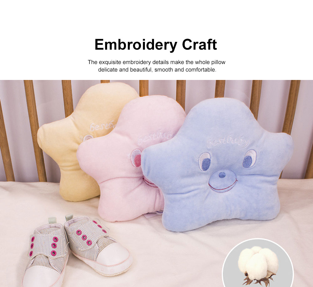 Pure Cotton Sea Star Shaped Pillow, Comfortable Baby Pillow Against Plagiocephaly for Infant Newborn Boys and Girls All Season 1