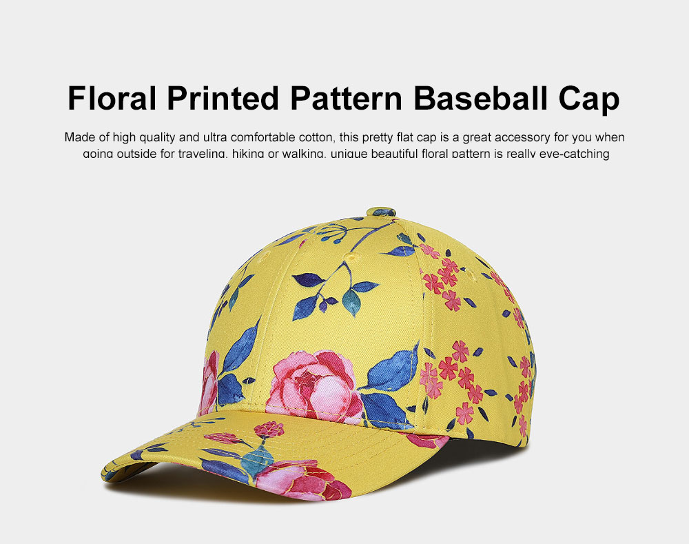 Summer Floral Printed Pattern Baseball Cap Fashionable Casual Outdoor Sun Cap with Hip Pop Style 0