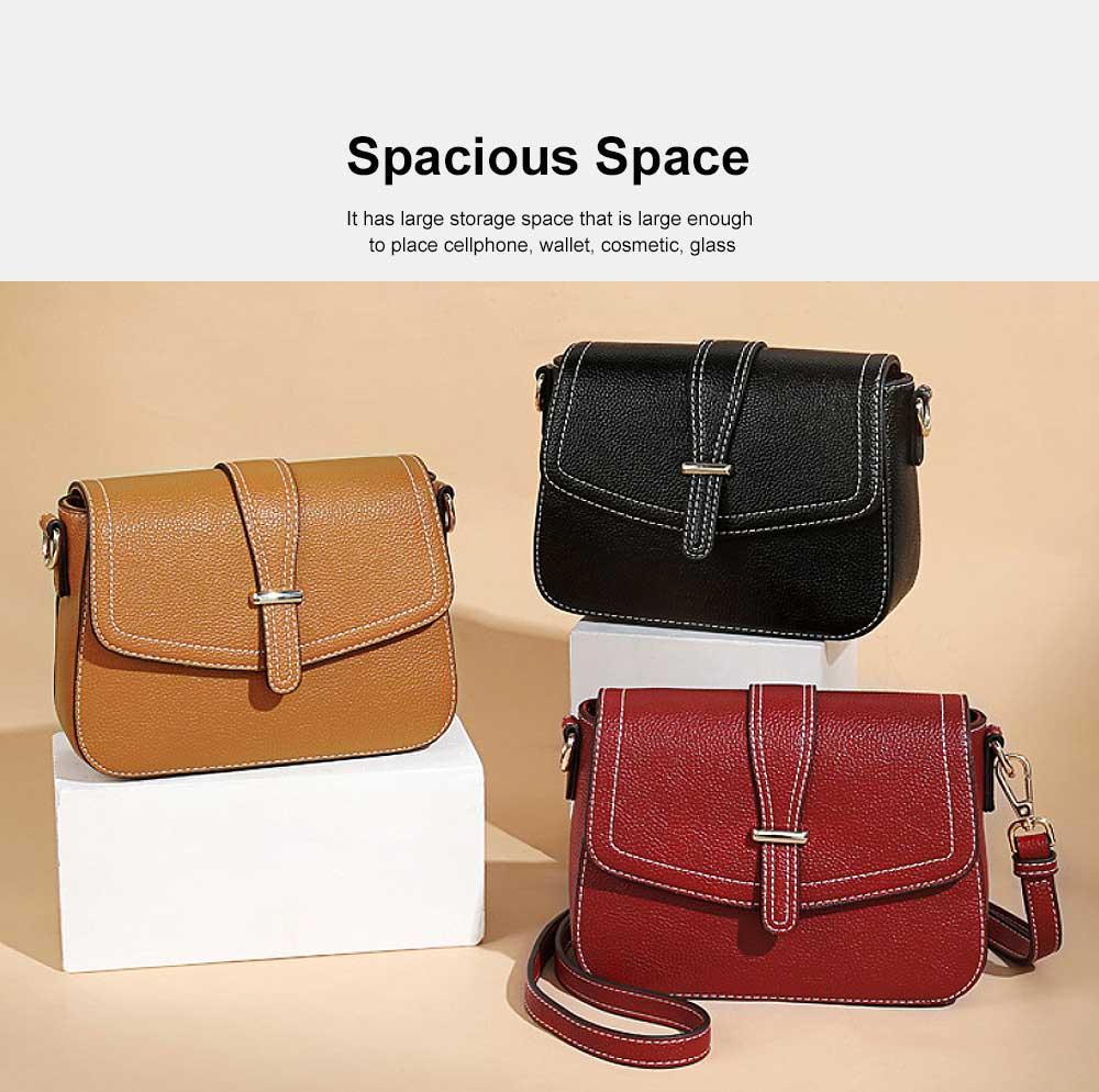 Stylish Women Shoulder Bag Compact PU Messenger Bag with Metal Buckle Spacious Storage Space 1