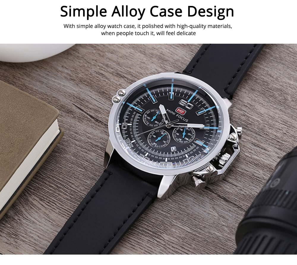 Waterproof Business Luxury Quartz Wrist Watch for Man, Genuine Leather Strap Band, Luminous Calendar Function 2