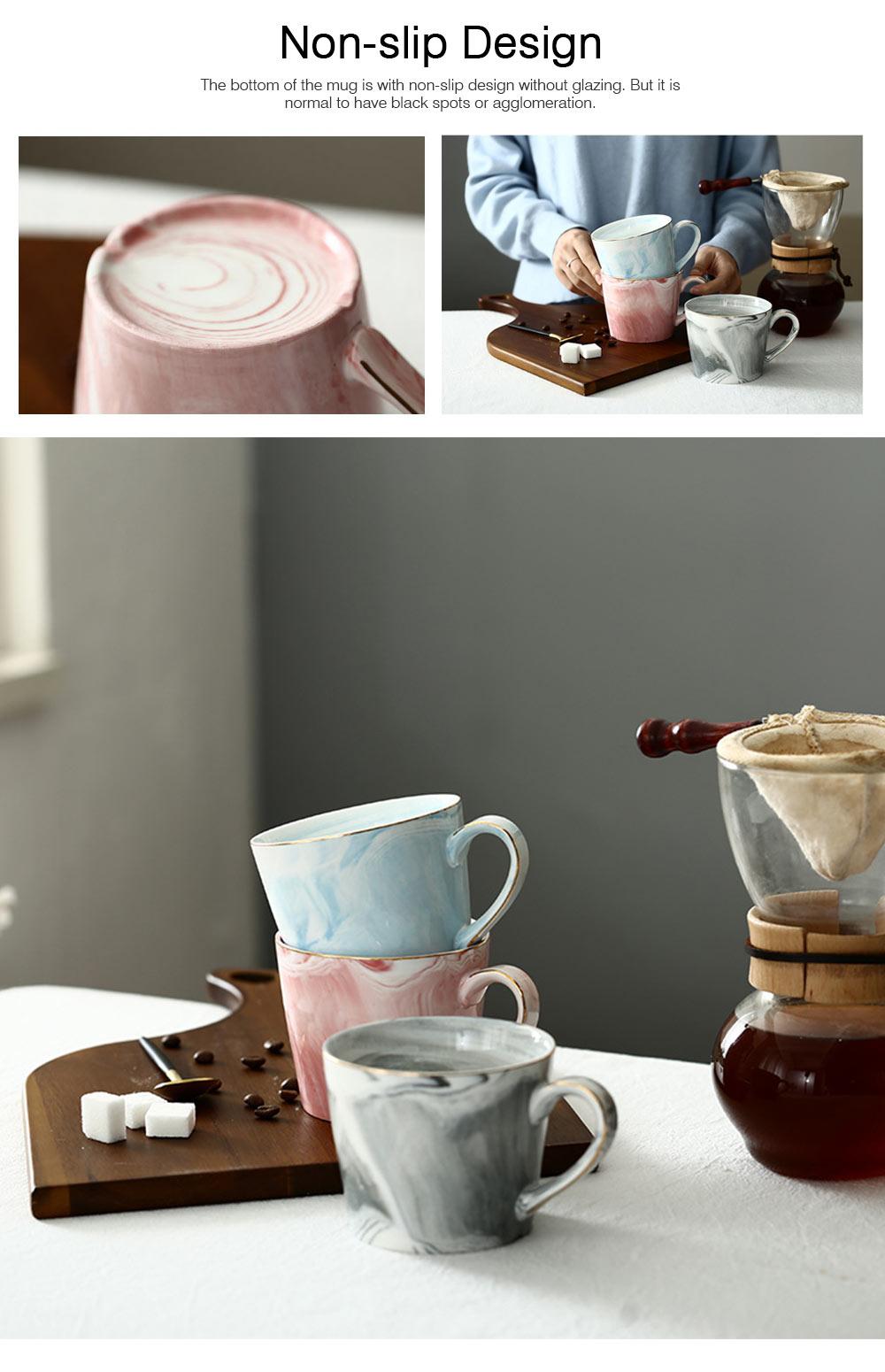 Nordic Style Colorful Ceramic Mug, Marble Grain Ceramic Mug with Lid and Handle Ember Black Coffee Cups 5