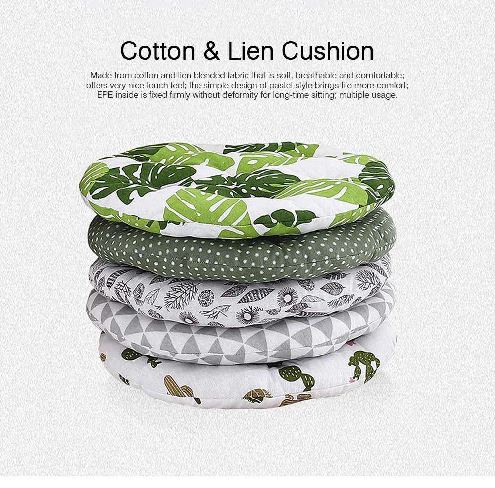 Cotton & Lien Cushion for Office Chair Round Keeping Warm Thickened Cushion for Winter Use Tatami Floor Cushion 0