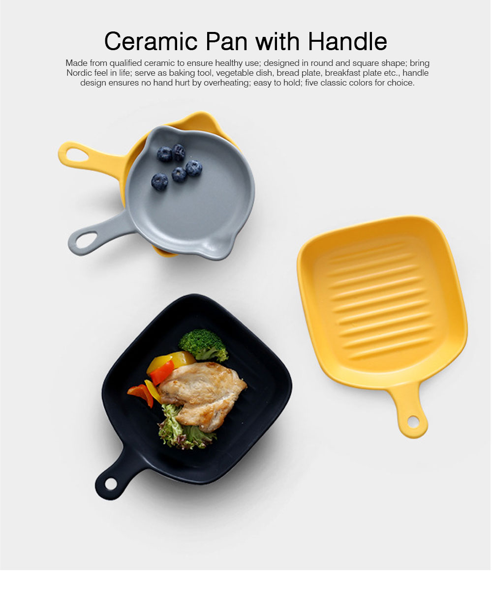 Nordic Style Ceramic Pan with Handle for Baking, Creative Nonstick Pan 8 Inch for Breakfast Ceramic Tableware 0