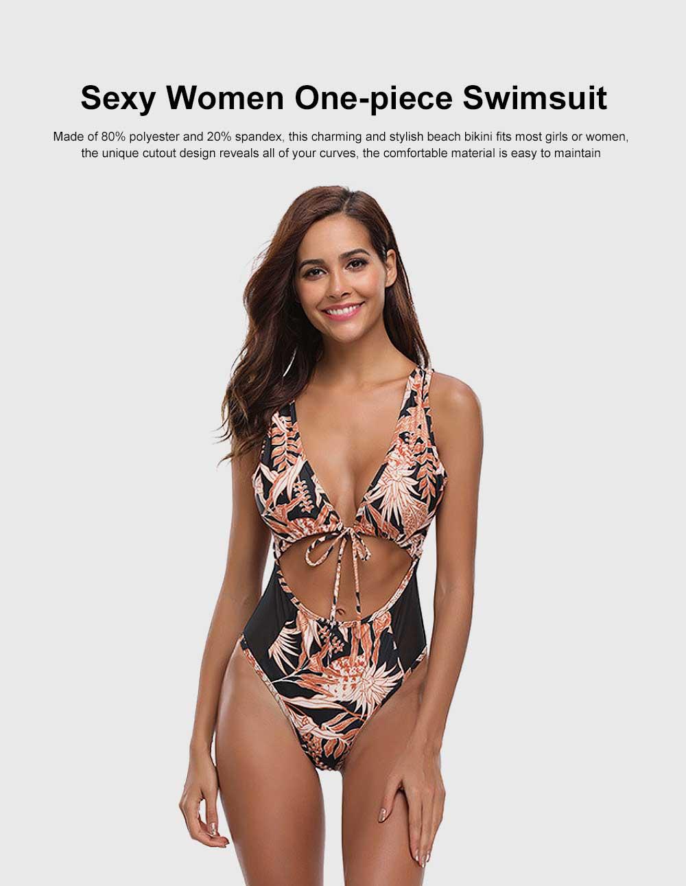 Sexy Women One-piece Swimsuit Padded Vintage Floral Bikini Swimming Bathing Wear 0