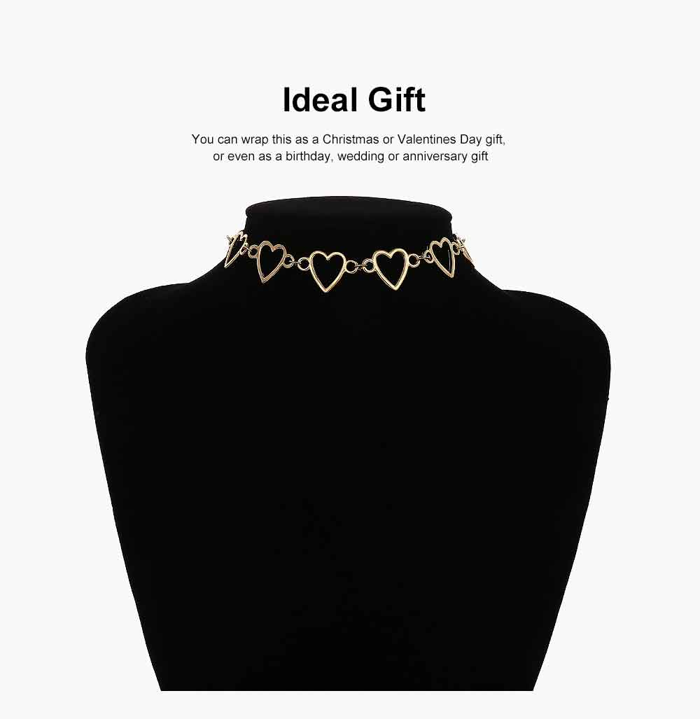 Choker Necklace Girl Women Hollowed Heart Shape Retro Choker Durable Alloy Neck Chain 5