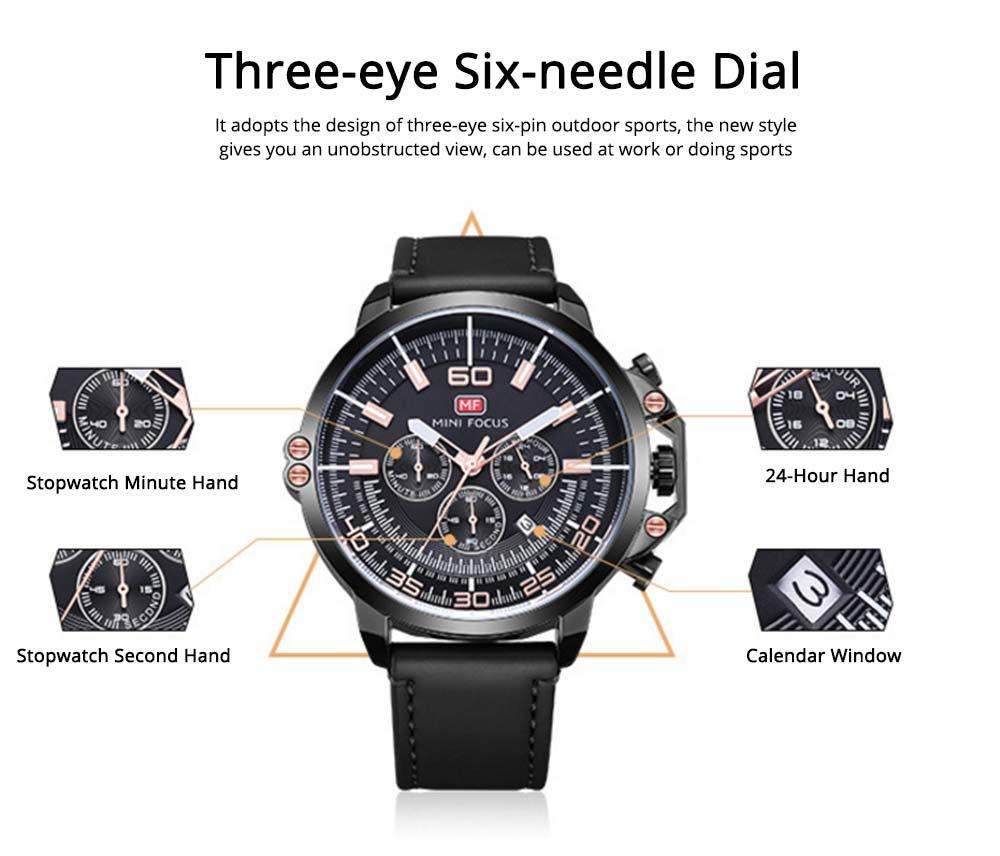 Waterproof Business Luxury Quartz Wrist Watch for Man, Genuine Leather Strap Band, Luminous Calendar Function 1